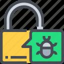 bug, hack, padlock, secure, security, virus icon