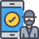 hacker, hacking, protection, secure, security, smartphone icon
