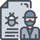 cyber, document, file, hacker, poster, report, virus icon