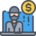 computer, currency, hacker, hacking, money, people icon