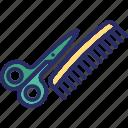 barbershop, comb, scissors, scissors and comb, shears icon