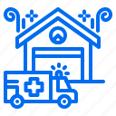 ambulance, emergency, house, pharmacy, transportation, victim icon