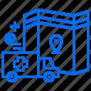 ambulance, emergency, location, map, pharmacy, transportation icon