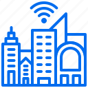 apartment, building, city, office, wifi icon
