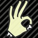 gesture, halloween, hand, ok, okay, yes, zombie
