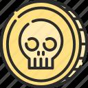 coin, dangerous, halloween, horror, pirate, skull icon