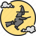 broom, evil, fly, ghost, halloween, hat, witch icon