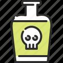 bottle, danger, death, mixture, poison, potion, skull icon