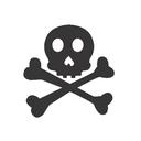 crossbones, skull, spooky icon