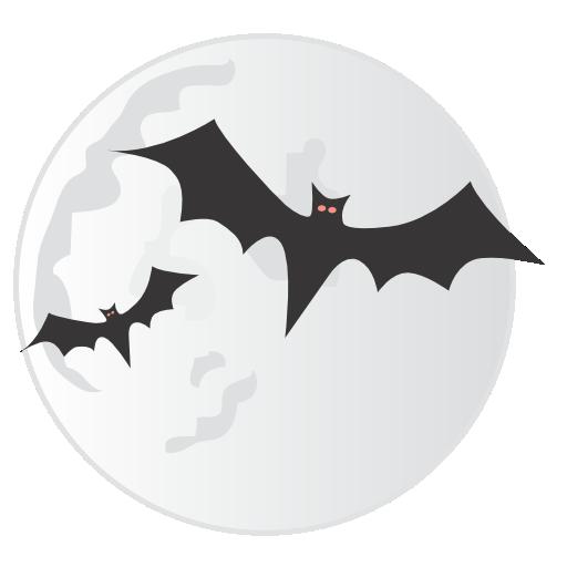 bats, halloween, moon, spooky icon
