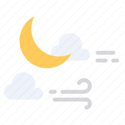 cloud, halloween, moon, scary, star, weather, wind icon