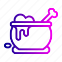 bone, cauldron, halloween, magic, pot, potion, withcraft icon