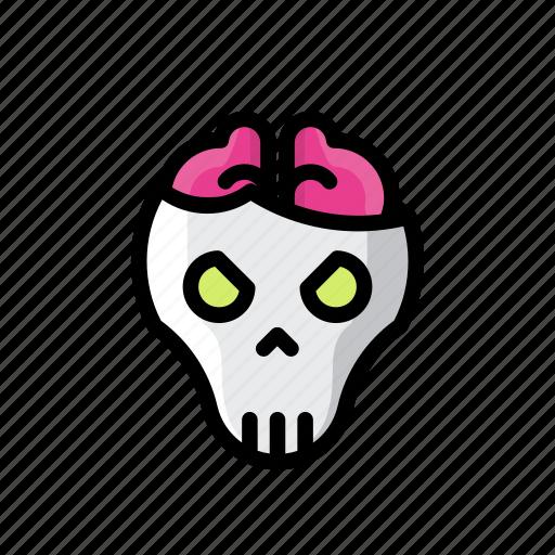 brain, death, ghost, halloween, horror, scary, skull icon