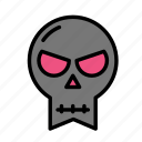 angry, dead, death, funeral, halloween, skull icon