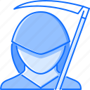 death, fantasy, halloween, legend, mantle, scythe, story icon