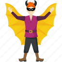 bat wings, cartoon batman, evil batman, halloween character, halloween costume icon