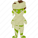 halloween character, halloween costume, halloween mummy, spooky cartoon, zombie mummy icon
