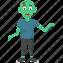 alien zombie, green cartoon, halloween character, halloween costume, zombie icon