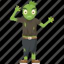 frog zombie, green cartoon, halloween cartoon, halloween character, halloween costume icon