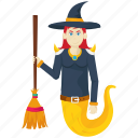 dragon witch, halloween cartoon, halloween character, halloween costume, witch with broom icon