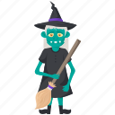 halloween cartoon, halloween character, halloween costume, scary old witch, witch with broom icon