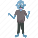 blue color zombie, creepy megamind, megamind, megamind halloween costume, werewolf icon