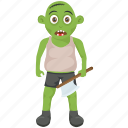 halloween character, halloween costume, zombie apocalypse, zombie attack, zombie with axe icon
