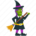 halloween cartoon, halloween character, halloween costume, witch with broom, zombie witch icon