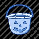 basket, candy basket, halloween, holidays, pumpkin basket, spooky, trick or treat icon