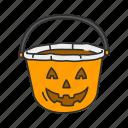 spooky, horror, halloween, holidays, basket, pumpkin basket, pumpkin