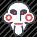 clown, doll, halloween, jigsaw, mask, monster, saw icon