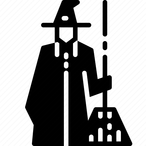 broomstick, costume, halloween, hat, witch icon