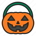 basket, halloween, hamper, pumpkin icon