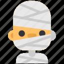 avatar, costume, halloween, man, masquerade, mummy, sick icon