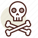 bones, death, holiday, horror, skull icon