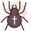 bug, cross, holiday, horror, insect, spider icon