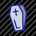 contour, element, linear, halloween, line, coffin icon