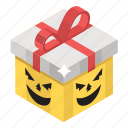 christmas gift, gift box, ribboned package, wrapped gift, wrapped box icon