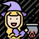 witch, pot, potion, cauldron, magic icon