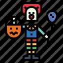 balloon, monster, trick, clown, halloween, or, treat