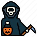 trick, reaper, sickle, or, treat, ghost, grim icon