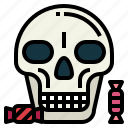 halloween, skeleton, skull, head, candy