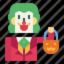 man, treat, joker, trick, or, monster, halloween icon