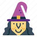 hat, woman, evil, old, witch, halloween icon