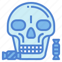 candy, head, skull, skeleton, halloween