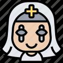 nun, halloween, costume, horror, evil