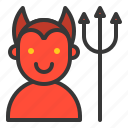 devil, halloween, horror, monster, scary, spooky, trident icon