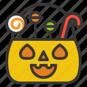 basket, candy, halloween, halloween basket, lollipop, sweets icon