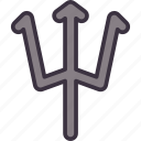 devil, halloween, neptune, polearm, spear, trident, weapon icon