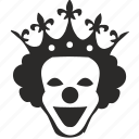 clown, crown, horror, mask, queen, smile icon